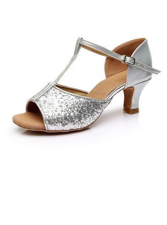 De mujer Brillo Chispeante Tacones Sandalias Danza latina con Tira T Zapatos de danza