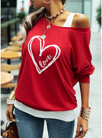 Print Figure One Shoulder Long Sleeves
