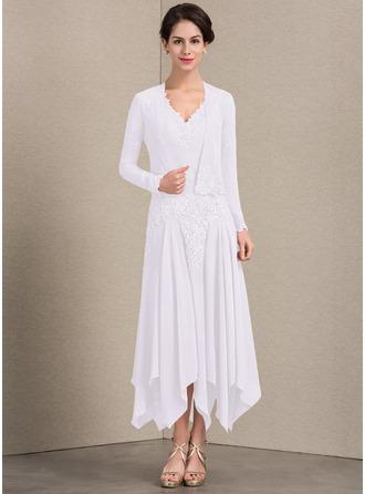 Vestidos princesa/ Formato A Decote V Longuete Tecido de seda Vestido para a mãe da noiva com Apliques de Renda lantejoulas