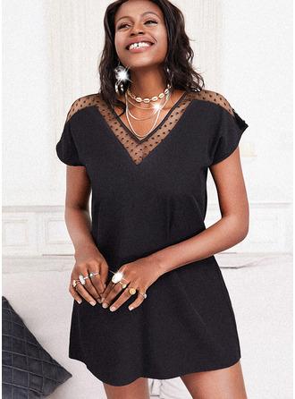 Einfarbig Etuikleider Kurze Ärmel Mini Kleine Schwarze Lässige Kleidung Tunika Modekleider
