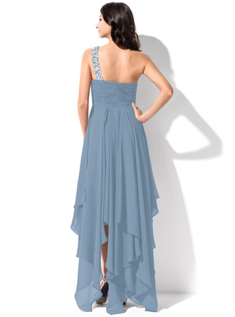 A-Line One-Shoulder Asymmetrical Chiffon Homecoming Dress With Ruffle Beading Sequins