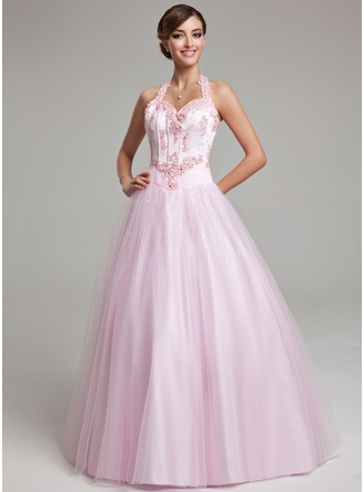 Ball-Gown Halter Floor-Length Tulle Prom Dresses With Beading Appliques Lace