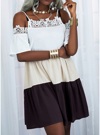 Color Block Lace Shift 1/2 Sleeves Mini Casual Tunic Dresses