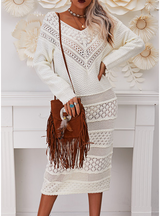 Off the Shoulder Casual Long Tight Solid Sweaters