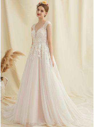 Corte De Baile/Princesa Escote en V Cola corte Tul Encaje Vestido de novia con Flores