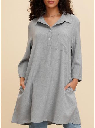 Solid Shiftklänningar 3/4 ärmar Midi Fritids Tunika Modeklänningar