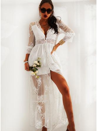 Spitze Einfarbig A-Linien-Kleid 3/4 Ärmel Maxi Elegant Skater Modekleider