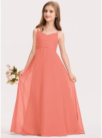 A-linjainen Kultaseni Lattiaa hipova pituus Sifonki Nuorten morsiusneito mekko jossa Rypytys