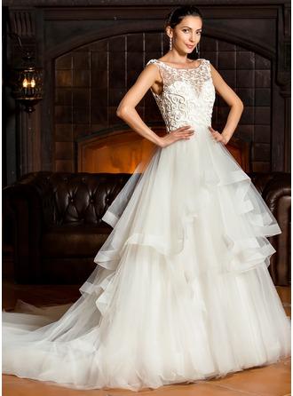 Corte de baile Escote redondo Cola capilla Tul Vestido de novia con Cascada de volantes