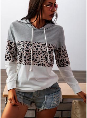 Farbblock Leopard Lange Ärmel Hoodie