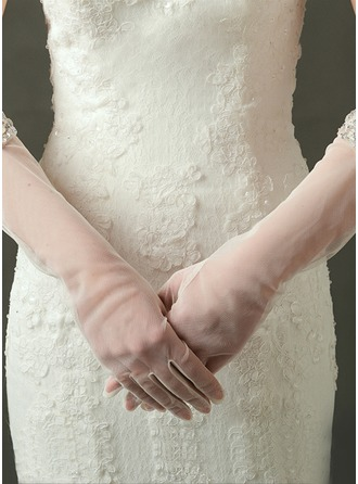 Tulle Elbow Length Bridal Gloves