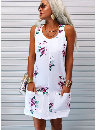 Floral Print Shift Sleeveless Midi Casual Tank Dresses