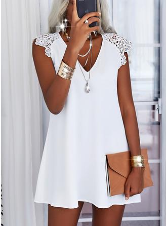 Lace Solid Shift Cap Sleeve Mini Casual Dresses