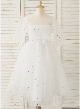 A-Line Tea-length Flower Girl Dress - Tulle 3/4 Sleeves Scoop Neck With V Back