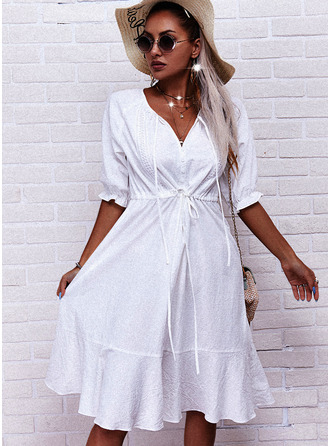 Solid A-line 1/2 Sleeves Midi Casual Skater Dresses
