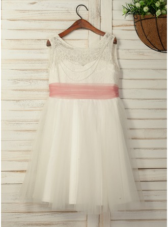 A-Line/Princess Tea-length Flower Girl Dress - Tulle/Lace Sleeveless Scoop Neck With Beading/V Back