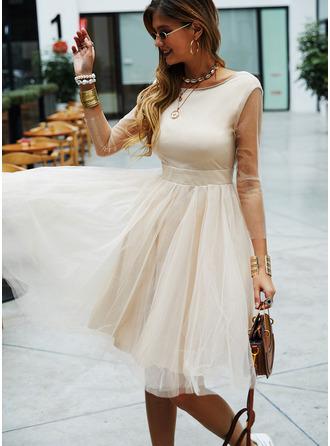 A-line 3/4 Sleeves Midi Dresses
