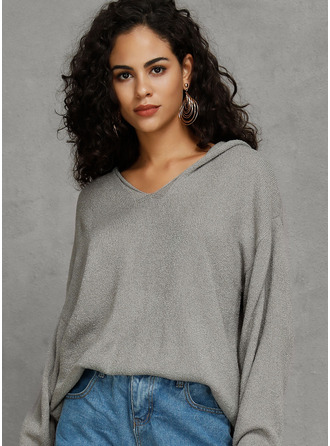 Solid Akryl Hette Pull over Gensere