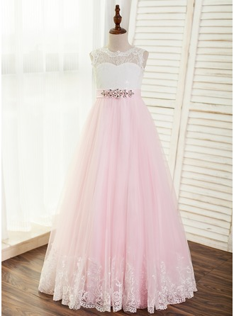 A-Line/Princess Floor-length Flower Girl Dress - Tulle/Lace Sleeveless Scoop Neck With Beading (Undetachable sash)