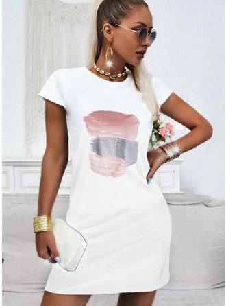 Print Shift Short Sleeves Mini Casual T-shirt Dresses
