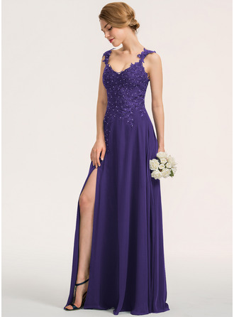 A-Line Sweetheart Floor-Length Chiffon Lace Bridesmaid Dress With Beading Split Front