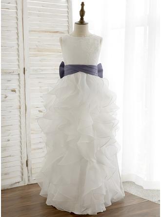 A-Line/Princess Floor-length Flower Girl Dress - Organza/Satin Sleeveless Scoop Neck With Bow(s) (Undetachable sash)