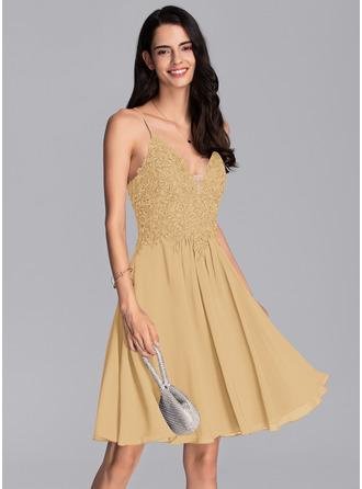 A-Line V-neck Knee-Length Chiffon Prom Dresses With Beading Sequins