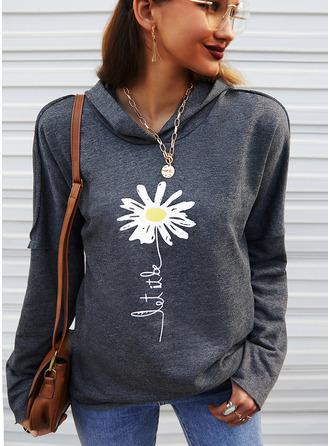 Floral Print Figure Long Sleeves Hoodie
