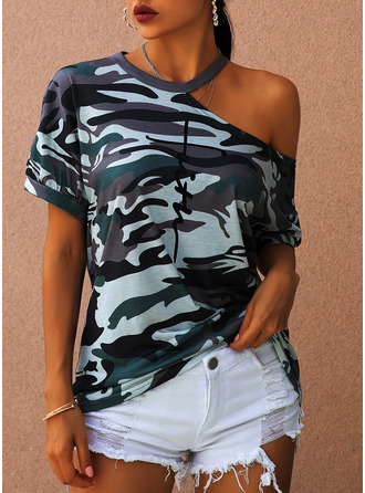 Print Short Sleeves Polyester One Shoulder Blouses Blouses