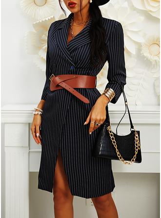 Rand Fodral 3/4 ärmar Midi Fritids Elegant Modeklänningar