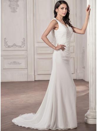 Trumpet/Mermaid V-neck Court Train Chiffon Wedding Dress With Ruffle Bow(s)