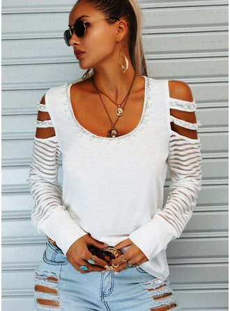 Beaded Solid Cold Shoulder Long Sleeves Casual Blouses