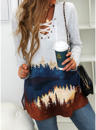 Forest Print V-Neck Long Sleeves Casual Blouses