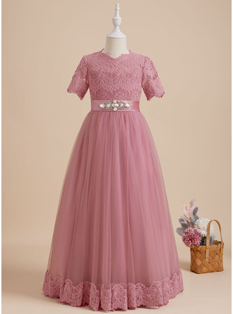 Ball-Gown/Princess Scoop Neck Floor-length With Beading Satin/Tulle/Lace Flower Girl Dress