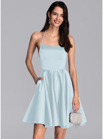 A-Line Square Neckline Short/Mini Satin Homecoming Dress