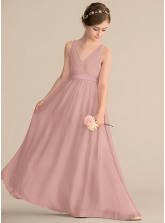 A-Line/Princess V-neck Floor-Length Chiffon Junior Bridesmaid Dress With Ruffle Bow(s)