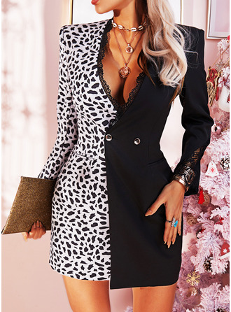 Leopard Lace Bodycon Long Sleeves Mini Elegant Dresses