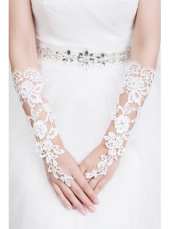 Lace Elbow Længde Brude Handsker