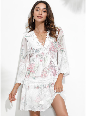Above Knee V neck Polyester Lace/Print 3/4 Sleeves Fashion Dresses