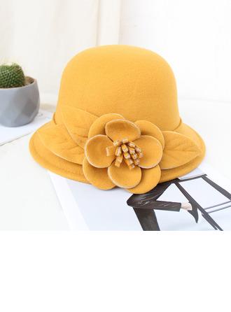Ladies ' Smukke/Enkle/Smuk uld blanding med Silke Blomst Bowler / Cloche Hat