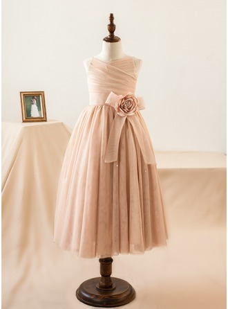A-Line/Princess Tea-length Flower Girl Dress - Tulle Sleeveless Straps With Flower(s)