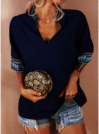 Print V-Neck 1/2 Sleeves Casual