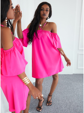 Solid Shift 1/2 Sleeves Mini Casual Dresses