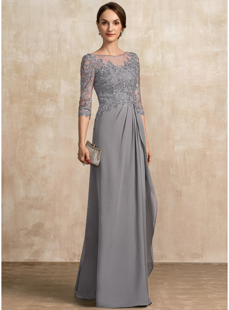 A-Line Scoop Neck Floor-Length Chiffon Lace Mother of the Bride Dress With Beading Sequins Cascading Ruffles