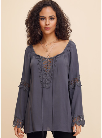Lace твердый Long Sleeves Polyester V Neck Блузы