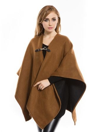 Solid Color Ylisuuri/Kylmä sää Keinotekoinen Wool Ponchot