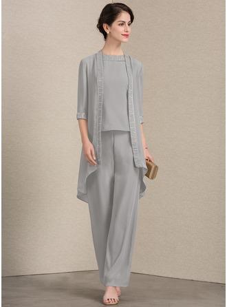 A-Linie/Princess-Linie U-Ausschnitt Bodenlang Chiffon Kleid für die Brautmutter mit Spitze