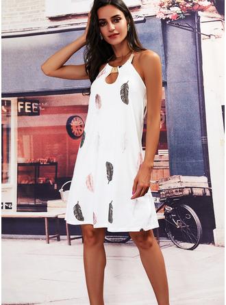 Print Shift Sleeveless Mini Casual Elegant Dresses