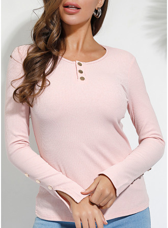 Solid Round Neck Long Sleeves Button Up Casual