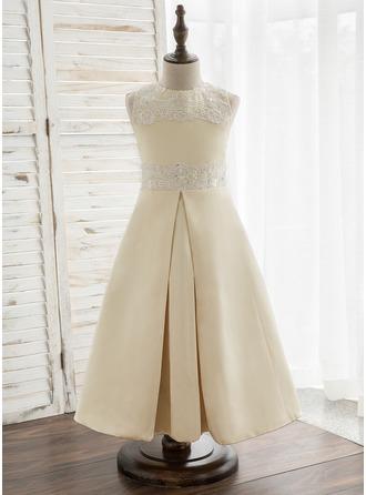 A-Line/Princess Tea-length Flower Girl Dress - Satin/Lace Sleeveless Scoop Neck With Beading